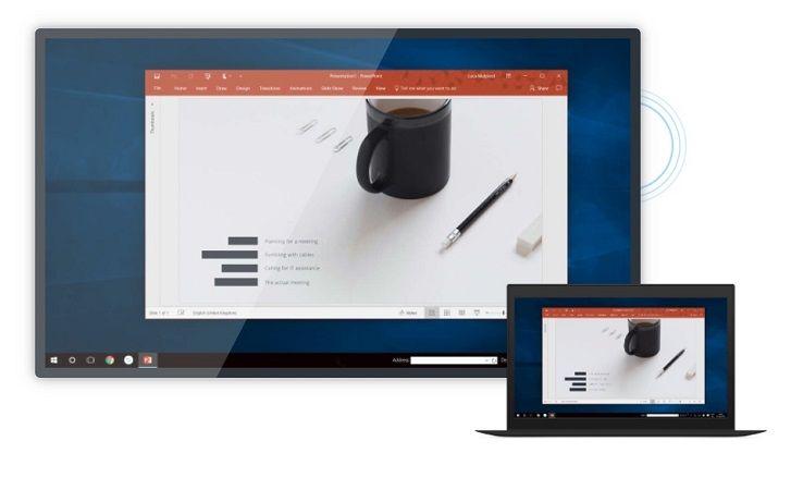 Ein Bildschirm und ein Laptop um Airtame 2 und seine Funktionen aufzuzeigen.