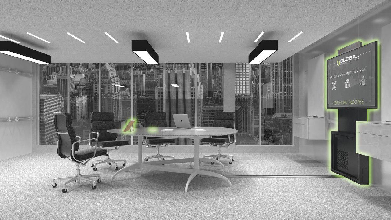 Ausgegrautes Bild eines Konferenzraumes mit vier Stühlen und einem großen Bildschirm.