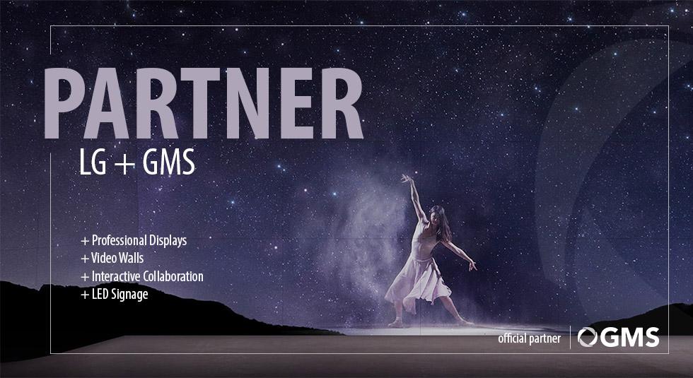 GMS ist nun offizieller Partner von LG - Im Bild sehen Sie ausserdem die Professionelle Video Wall von LG.