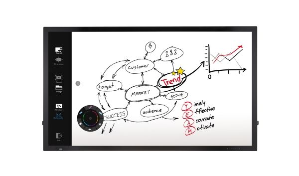 LG Interactive Digital Board, welches Notizen aus einem Meeting zeigt.